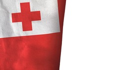 Tonga flag isolated on white with copyspace 3D rendering