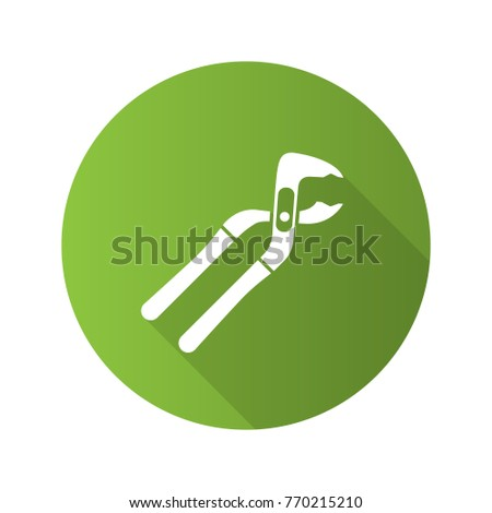 Tongue and groove pliers flat design long shadow glyph icon. Saw-setting pliers. Raster silhouette illustration