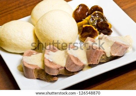 Tongue dish with horseradish sauce