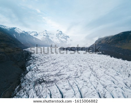 Tongue of Svinafellsjokull glacier, Iceland - 05.28.2018: Iceland glaciers are thinning more than a one meter in a year.