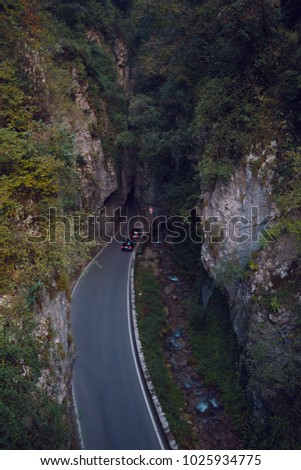 tonnel on the unique and famous Strada della Forra Scenic road at caves leading from Tremosine to Pieve  #1025934775