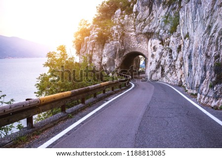 tonnel on the unique and famous Strada della Forra Scenic road at caves leading from Tremosine to Pieve  #1188813085