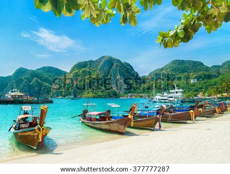 Tonsai Beach bay view with many traditional longtail boats parking and palm seafront in Thailand, Phi Phi island, Krabi Province, Andaman Sea