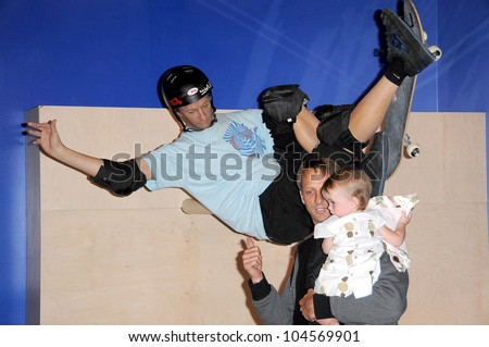 Tony Hawk and his daughter Kadence at the Unveiling of Madame Tussauds    Tony Hawk Daughter