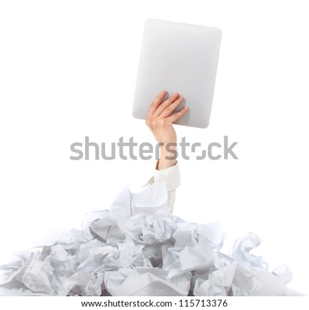 Too many paper work. Hands of woman holding her tablet computer over papers