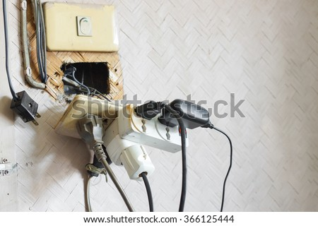 Too many plugs in a socket / Danger of using too much electricity with copy space to add text