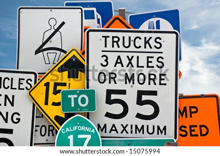 Too much information. A collection of various highway signs