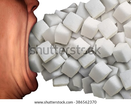 Too much sugar medical concept as a person with a wide open mouth eating a large group of sweet granulated refined white sugar cubes as a metaphor for unhealthy diet habit or ingredient addiction.