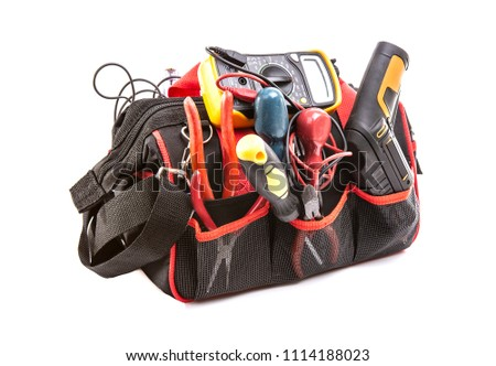 Tool bag with tools on a white background