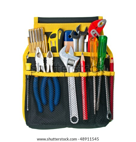 Tool belt with assorted tools on white background