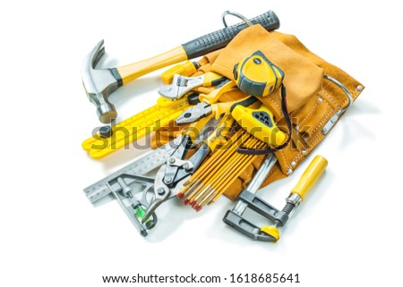 tool belt with construction tools isolated on white background