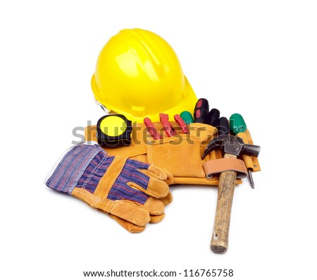 Tool belt with hardhat and protective gloves on white background