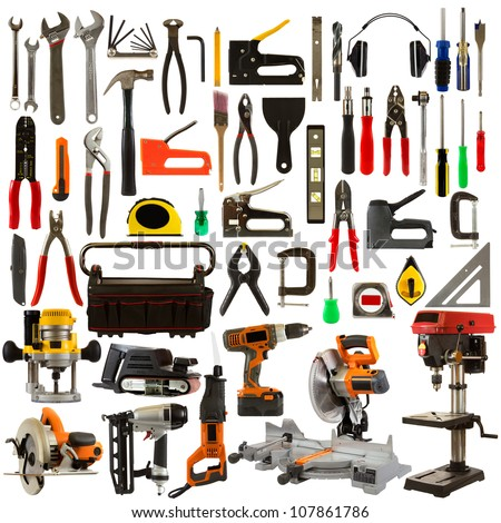 Tool collage isolated on a white background depicting carpentry and construction tools.