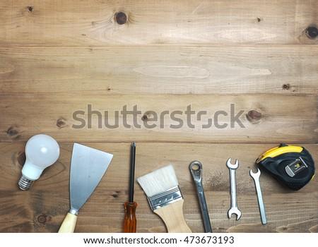 Tool decorate on wooden floor #473673193