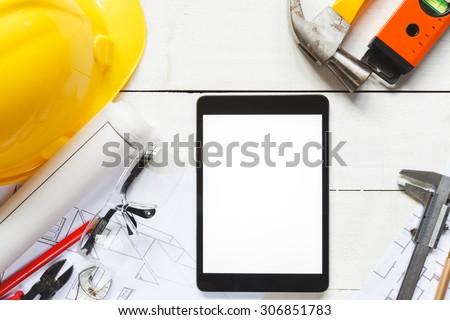tool kit design on white wood