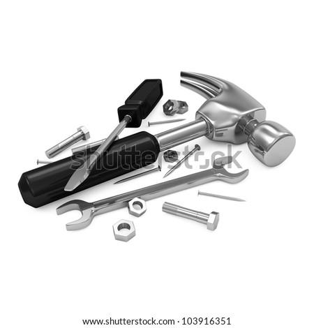 Tool Kit isolated on white background - stock photo