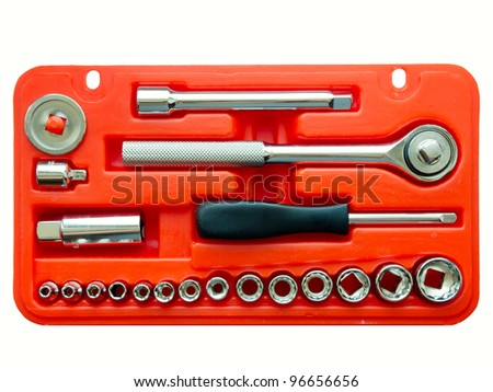 Tool kit of various metal tools in the red box isolated