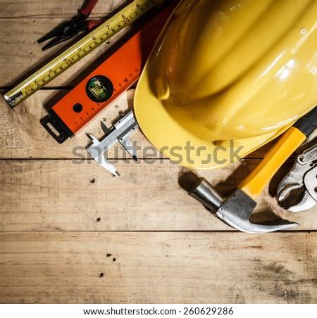 tool kit on brown wood