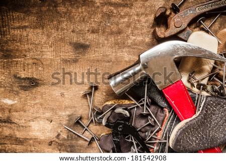 tool renovation on grunge wood background #181542908