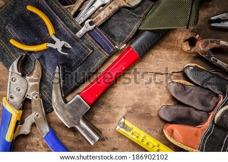 tool renovation on grunge wood background #186902102