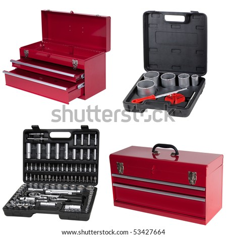 toolbox isolated over white background - stock photo