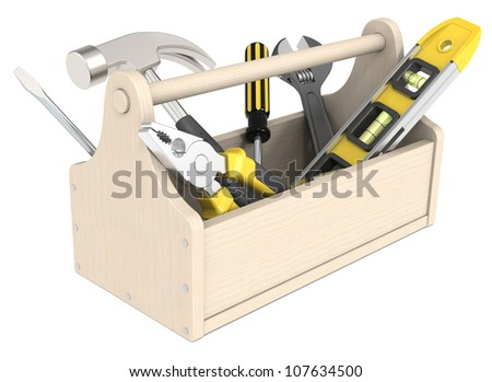 Toolbox of wood. Miscellaneous Tools.