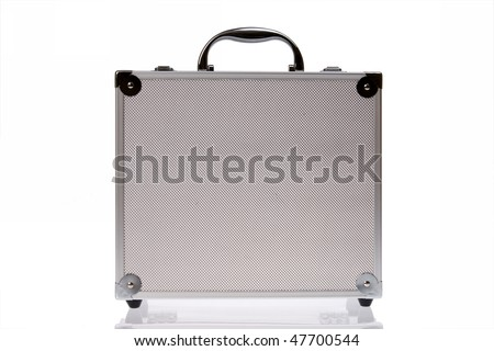 Toolbox, silver suitcase isolated on white