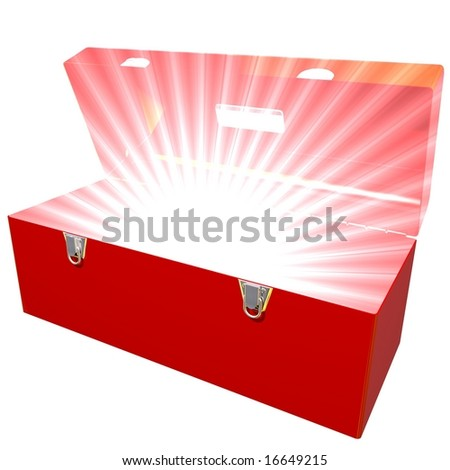 Toolbox with bright light coming from inside