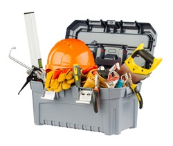 toolbox with orange helmet and different hand tools.