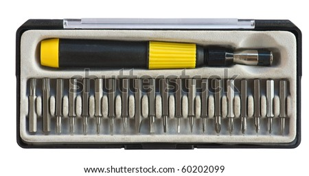 toolbox with screwdriver and replaceable bits isolated on white
