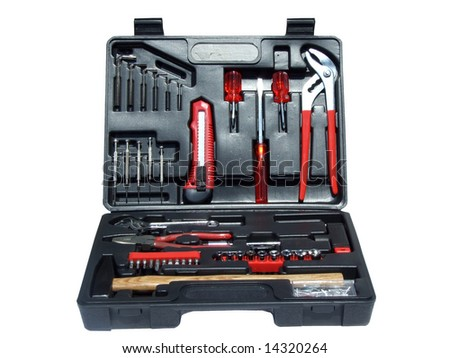 toolbox with several tools, isolated on white, with clipping path