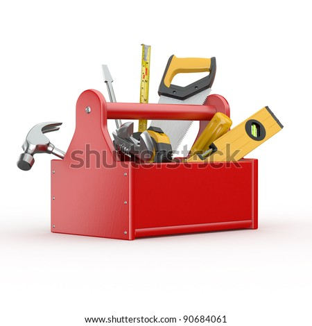 Toolbox with tools. Skrewdriver, hammer, handsaw and wrench. 3d - stock photo