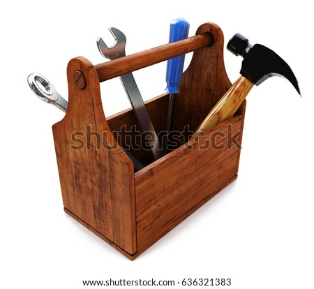 Toolbox with tools. Skrewdriver, hammer, handsaw and wrench. 3d in the design of the information associated with a request for repair. 3d illustration