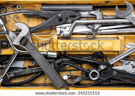 Toolbox with tools.  wrench