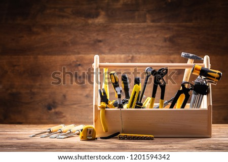 Toolbox With Various Worktools On Wooden Surface #1201594342
