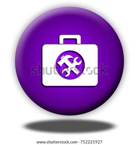 Toolkit button isolated, 3d illustration