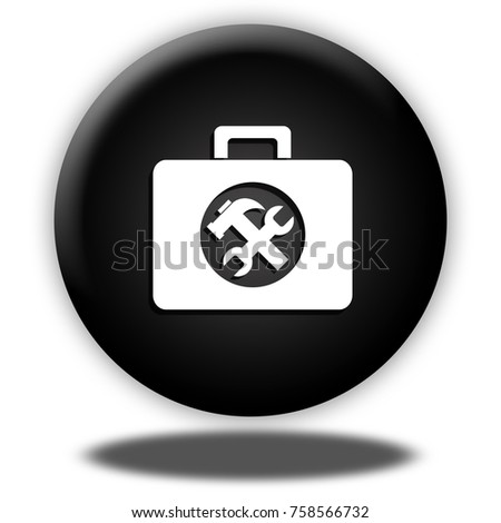 Toolkit button isolated, 3d illustration