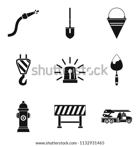 Toolkit icons set. Simple set of 9 toolkit icons for web isolated on white background