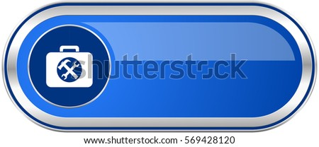 Toolkit long blue web and mobile apps banner isolated on white background.