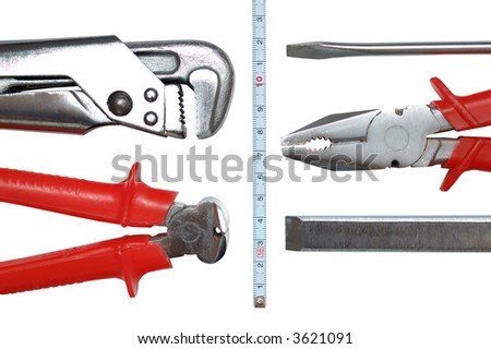 Toolkit of six items isolated on white
