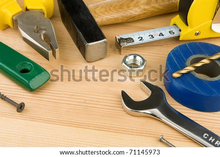 tools and instruments on wooden texture