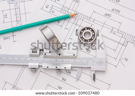 tools and mechanisms detail on the background of technical drawings