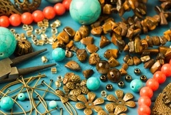 Tools, bead tiger-eye, accessories for making jewelry. Needlework.