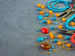 Tools, beads, accessories for making jewelry. Needlework.