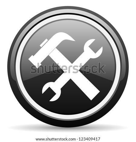 tools black glossy icon on white background