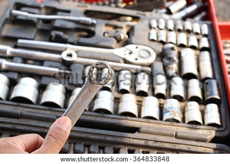 Tools box in the garage of vehicle repair. screwdriver for car fix on duty #364833848