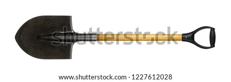 Photo of  Tools Building and repair - Big shovel with a handle on a white background. It is isolated, the worker of paths is present.