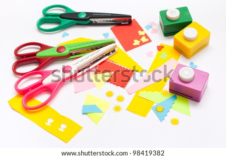 Tools for children's creativity, scissors and punches
