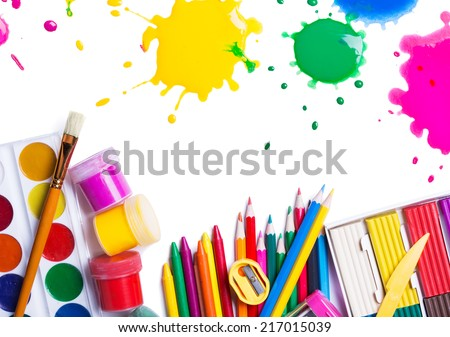 tools for creative work on a white background  stock photo