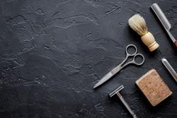 Tools for cutting beard barbershop top view
